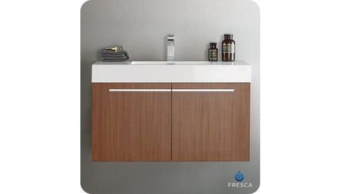 "Fresca FCB8090TK-CMB Vista 36"" Teak Modern Bathroom Cabinet with Integrated Sink"