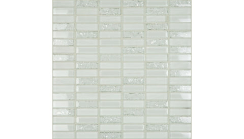 "Crackle White 1.8"" x 0.6"" on 12"" x 12"" Mosaic 6580-C"
