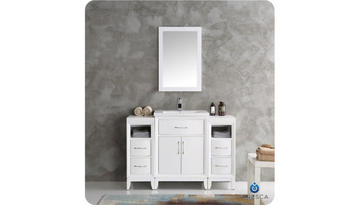 "Fresca FVN21-122412WH Cambridge 48"" White Traditional Bathroom Vanity with Mirror"