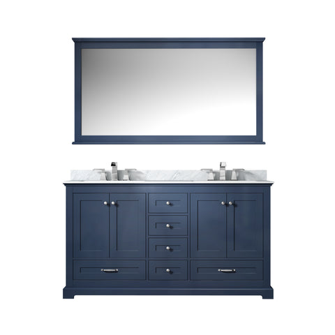 "Lexora Dukes 60"" Navy Blue Double Vanity, White Carrara Marble Top, White Square Sinks and 58"" Mirror LD342260DEDSM58"
