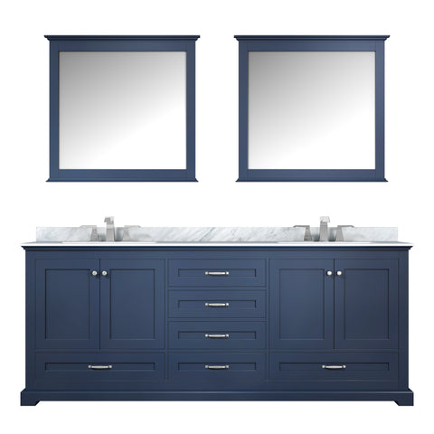 "Lexora Dukes 80"" Navy Blue Double Vanity, White Carrara Marble Top, White Square Sinks and 30"" Mirrors LD342280DEDSM30"