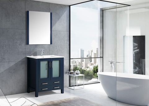 "Lexora Volez 30"" Navy Blue Single Vanity, Integrated Top, White Integrated Square Sink and 28"" Mirror LV341830SEESM28"