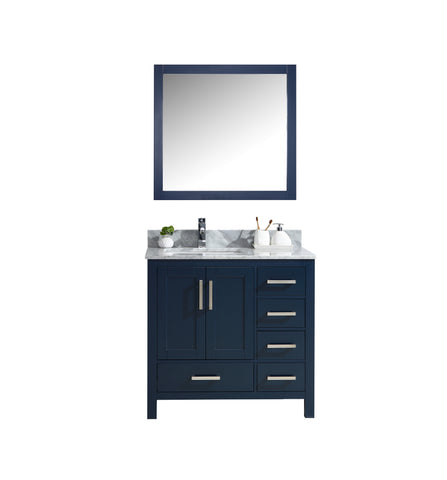 "Lexora Jacques 36"" Navy Blue Single Vanity, White Carrara Marble Top, White Square Sink and 34"" Mirror - Left Version LJ342236SEDSM34-L"
