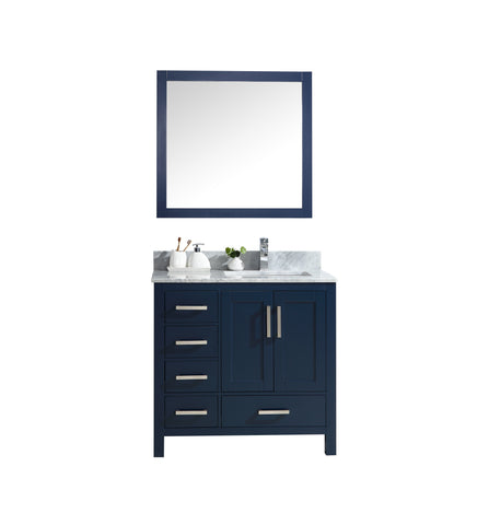 "Lexora Jacques 36"" Navy Blue Single Vanity, White Carrara Marble Top, White Square Sink and 34"" Mirror - Right Version LJ342236SEDSM34-R"