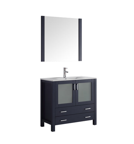 "Lexora Volez 36"" Navy Blue Single Vanity, Integrated Top, White Integrated Square Sink and 34"" Mirror LV341836SEESM34"