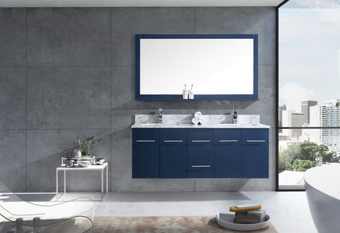 "Amelie 60"" Navy Blue Double Vanity, White Carrara Marble Top, White Square Sinks and 60"" Mirror LA222260DEDSM60"