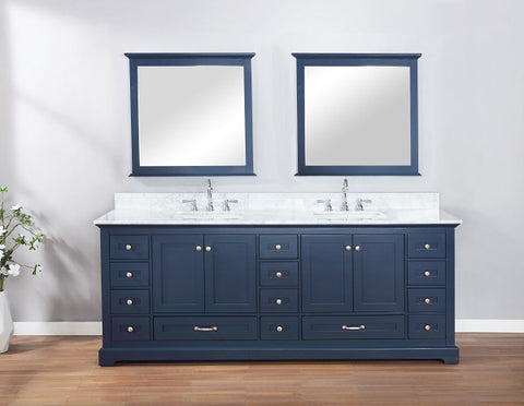 "Lexora Dukes 84"" Navy Blue Double Vanity, White Carrara Marble Top, White Square Sinks and 34"" Mirrors LD342284DEDSM34"