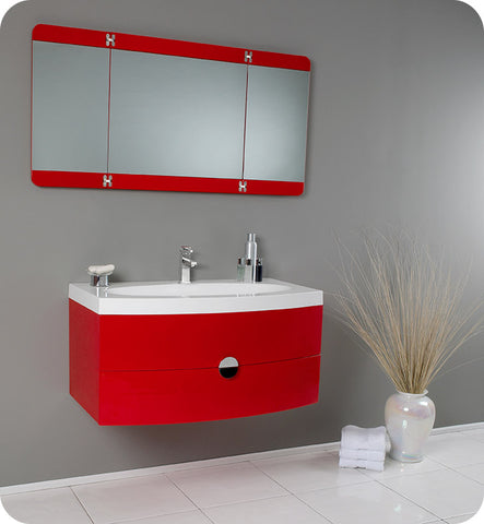 "Fresca Energia 36"" Modern Bathroom Vanity with Three Panel Folding Mirror Red FVN5092RD"