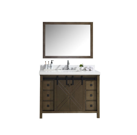 "Marsyas Veluti 48"" Rustic Brown Single Vanity, White Quartz Top, White Square Sink and 44"" Mirror LM343348SKCSM44"