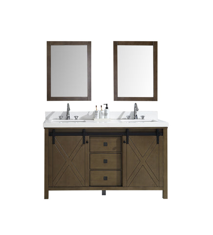 "Marsyas Veluti 60"" Rustic Brown Double Vanity, White Quartz Top, White Square Sinks and 24"" Mirrors LM343360DKCSM24"
