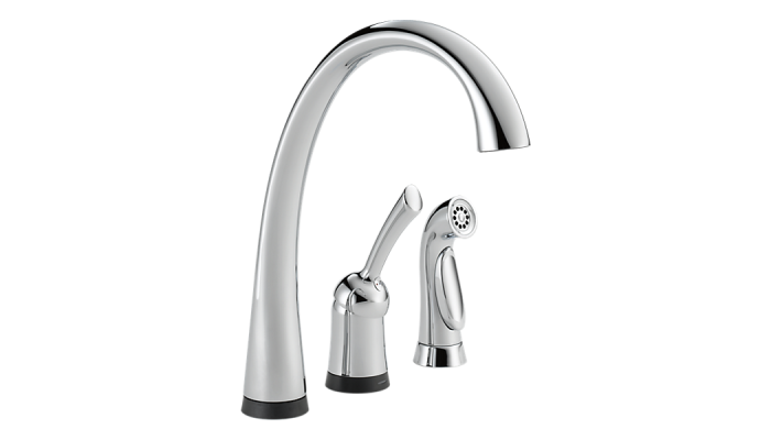Delta Pilar® Single Handle Kitchen Faucet with Touch2O® Technology and Spray Polished Chrome 4380T-DST