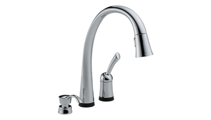 Delta Pilar® Single Handle Pull-Down Kitchen Faucet with Touch2O® Technology and Soap Dispenser Polished Chrome 980T-SD-DST