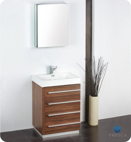"Fresca Livello 24"" Modern Bathroom Vanity with Medicine Cabinet Walnut FVN8024GW"