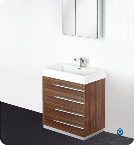 "Fresca Livello 30"" Modern Bathroom Vanity with Medicine Cabinet Walnut FVN8030GW"