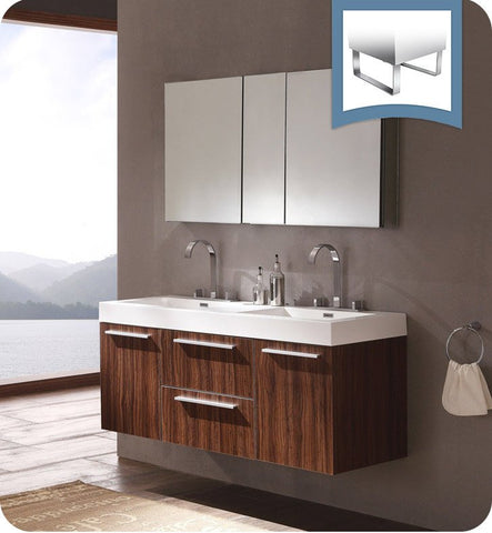 "Fresca Opulento 54"" Modern Double Sink Bathroom Vanity Walnut FVN8013GW"