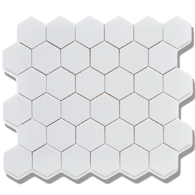 "CC Mosaic Series White Matte 2"" x 2"" Hex on 12"" x 12"" UFCC102-12M"