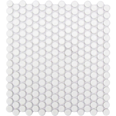 "CC Mosaic Series White Matte Penny Round on 12"" x 12"" UFCC108-12M"