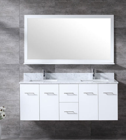 "Amelie 60"" White Double Vanity, White Carrara Marble Top, White Square Sinks and 60"" Mirror LA222260DADSM60"