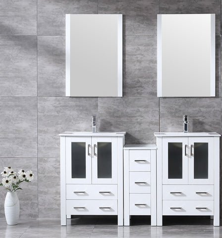 "Volez 60"" White Double Vanity w/ Side Cabinet, Integrated Top, White Integrated Square Sink and 22"" Mirrors LV341860SAESM22"