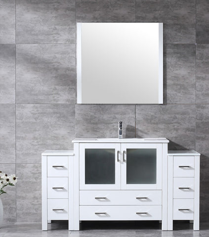 "Volez 60"" White Single Vanity w/ 2 Side Cabinets, Integrated Top, White Integrated Square Sink and 34"" Mirror LV341860SAESM34"