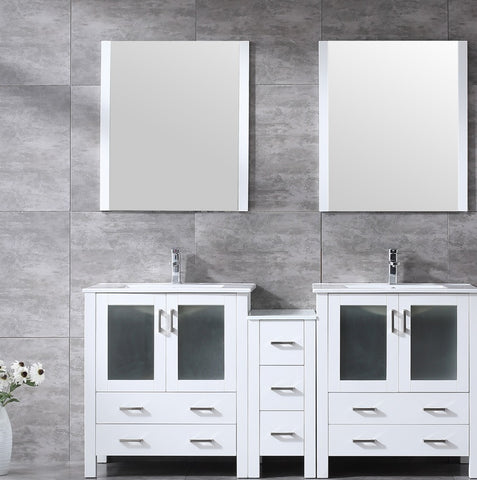 "Volez 72"" White Double Vanity w/ Side Cabinet, Integrated Top, White Integrated Square Sink and 28"" Mirrors LV341872SAESM28"