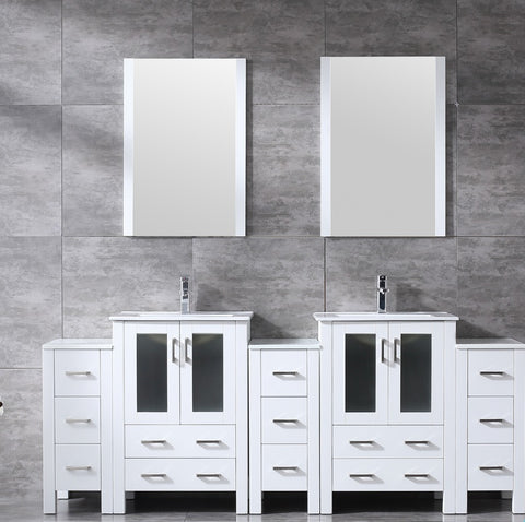 "Volez 84"" White Double Vanity w/ 3 Side Cabinets, Integrated Top, White Integrated Square Sink and 22"" Mirrors LV341884SAESM22"