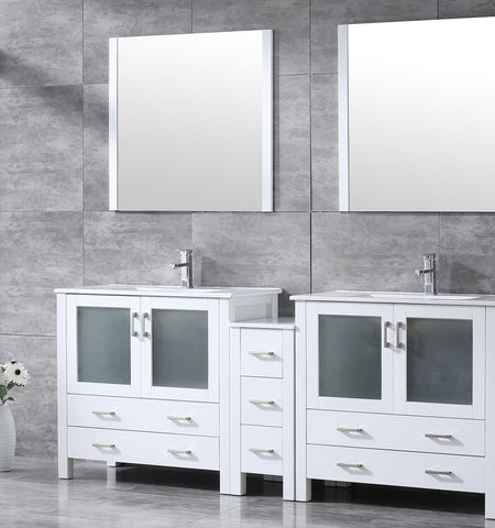 "Volez 84"" White Double Vanity w/ Side Cabinet, Integrated Top, White Integrated Square Sink and 34"" Mirrors LV341884SAESM34"