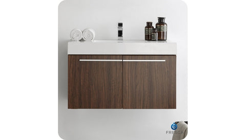 "Fresca FCB8090GW-CMB Vista 36"" Walnut Modern Bathroom Cabinet with Integrated Sink"