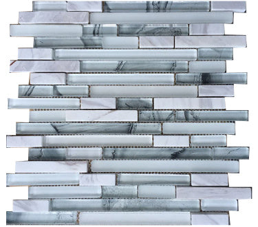 "YYQ-011-5/8 Blizzard 5/8"" Random Strips Mosaic Ink Jet Glass and Stone"