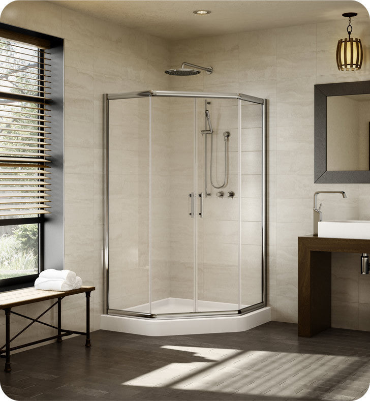 "Fleurco Signature 42"" Amalfi Neo Semi Frameless Neo Angle Sliding Shower Doors EAN42"