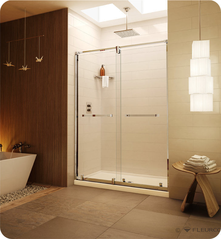 "Fleurco Luxe Axent In-Line Bypass Sliding Shower Doors - 63"" to 66"" LX63"