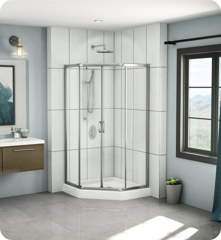"Fleurco Signature 38"" Amalfi Neo Semi Frameless Neo Angle Sliding Shower Doors EAN38"