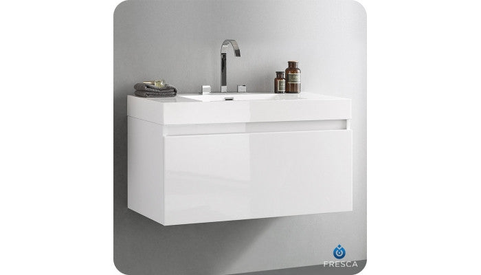 "Fresca FCB8010WH-CMB Mezzo 39"" White Modern Bathroom Cabinet with Integrated Sink"