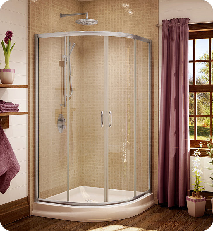 "Fleurco Signature Capri Round 4 Frameless Curved Glass 36"" Sliding Shower Doors FA36"