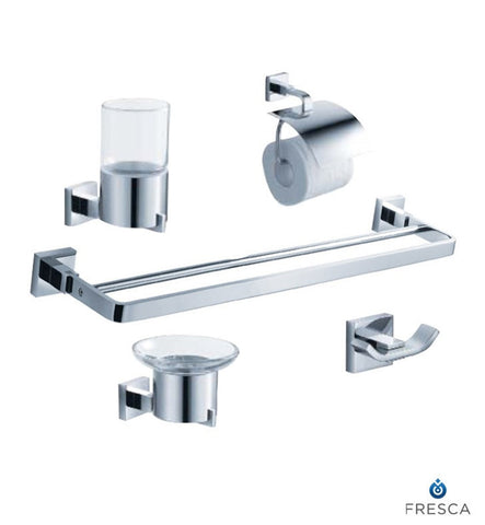 Fresca Glorioso 5 Piece Bathroom Accessory Set in Chrome with Double Towel Bar FAC1100-D