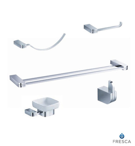 Fresca Solido 5 Piece Bathroom Accessory Set in Chrome with Double Towel Bar FAC1300-D