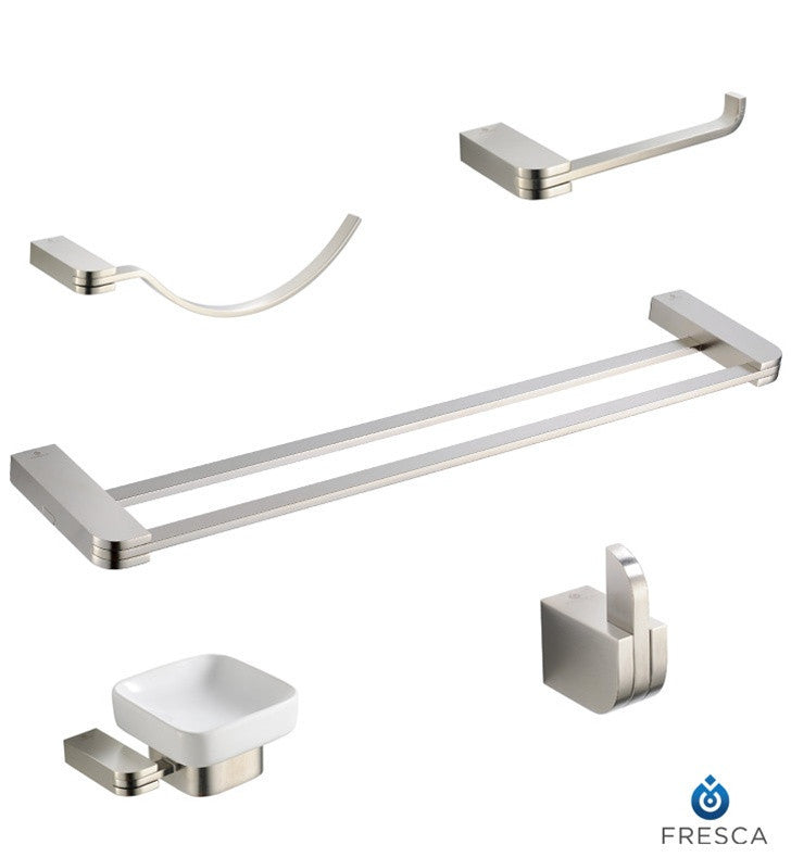 Fresca Solido 5 Piece Bathroom Accessory Set in Brushed Nickel with Double Towel Bar FAC1300BN-D