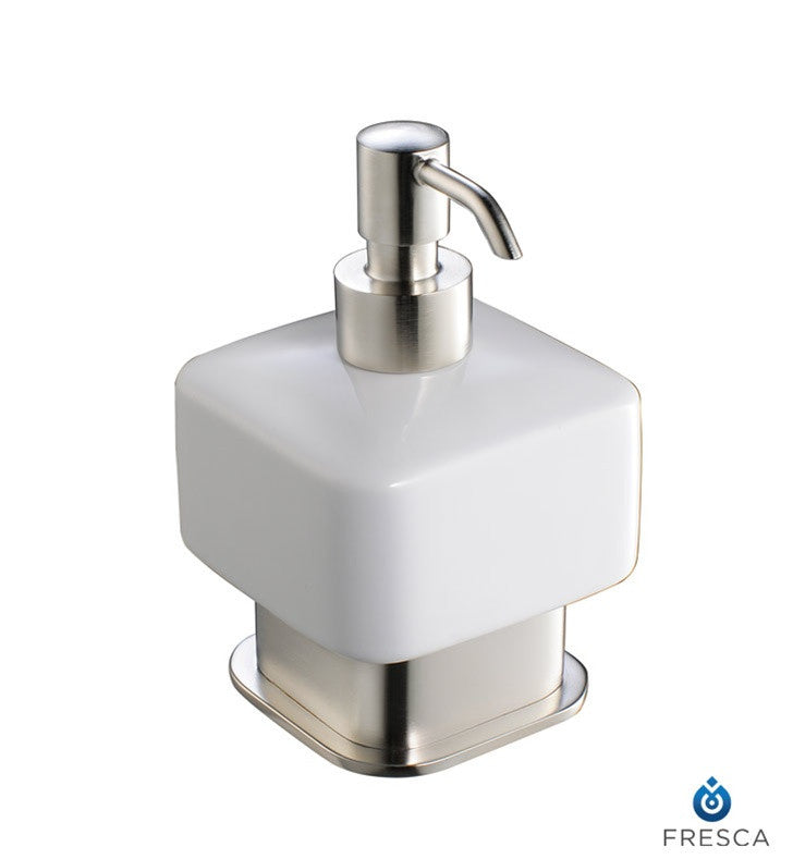 Fresca Solido Lotion Dispenser (Free Standing) in Brushed Nickel FAC1361BN