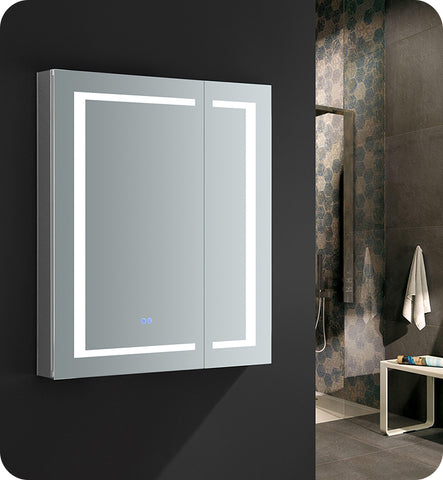 "Fresca FMC023036 Spazio  30"" Wide x 36"" Tall Bathroom Medicine Cabinet with LED Lighting"