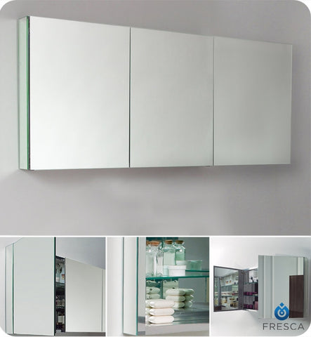"Fresca 60"" Wide Bathroom Medicine Cabinet with Mirrors FMC8019"