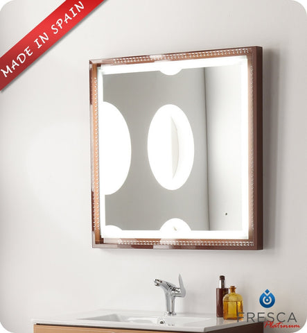 "Fresca Platinum Napoli 32"" Bathroom Mirror with LED Lighting and Fog Free System in Chocolate Gloss FPMR7544CL"