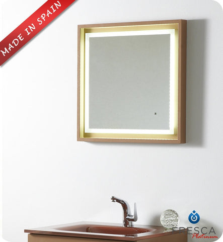 "Fresca Platinum Napoli 24"" Bathroom Mirror with LED Lighting and Fog Free System in Cappuccino Gloss FPMR7562CP"