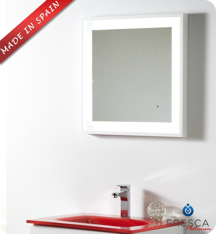 "Fresca Platinum Napoli 24"" Bathroom Mirror with LED Lighting and Fog Free System in White Gloss FPMR7562WH"