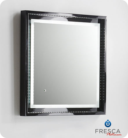 "Fresca Platinum Napoli 24"" Black Gloss Sandblasting Mirror w/ LED Lighting, Touch Switch and Fog-Free System FPMR7624BL"