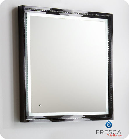 "Fresca Platinum Napoli 31"" Black Gloss Sandblasting Mirror w/ LED Lighting, Touch Switch and Fog-Free System FPMR7630BL"
