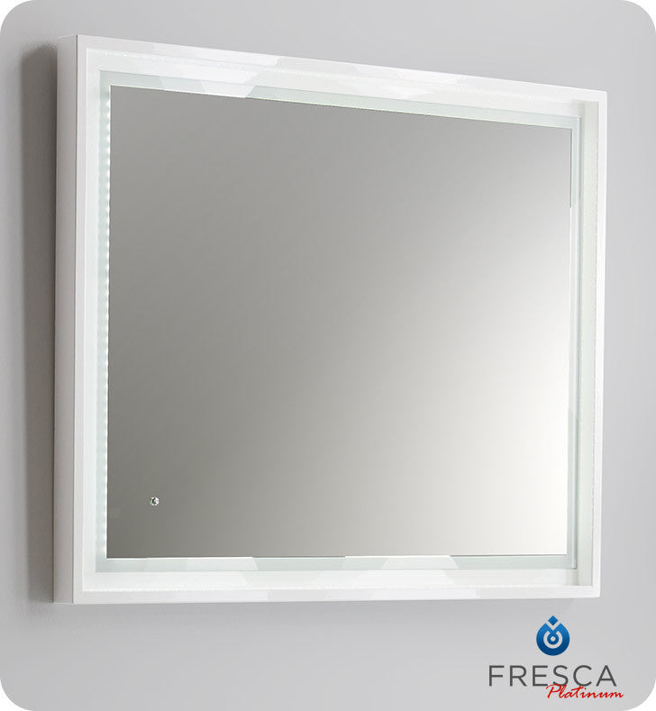 "Fresca Platinum Napoli 39"" White Gloss Sandblasting Mirror w/ LED Lighting, Touch Switch and Fog-Free System FPMR7640WH"