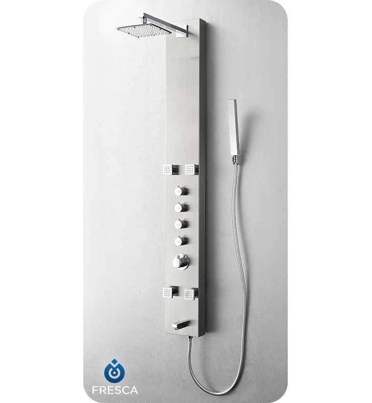 Fresca Pavia Stainless Steel Thermostatic Shower Massage Panel in Brushed Silver FSP8001BS