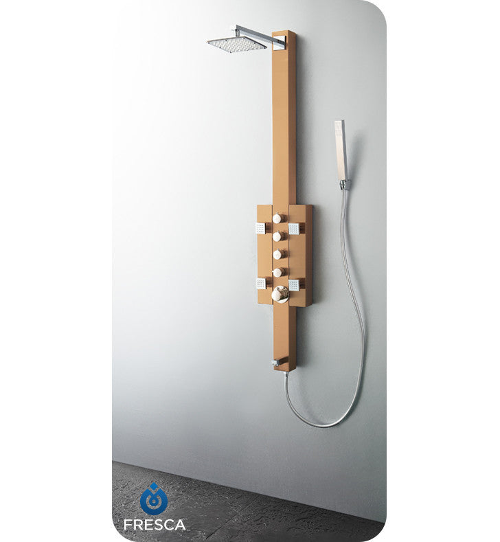 Fresca Lecco Stainless Steel Thermostatic Shower Massage Panel in Brushed Bronze FSP8002BB