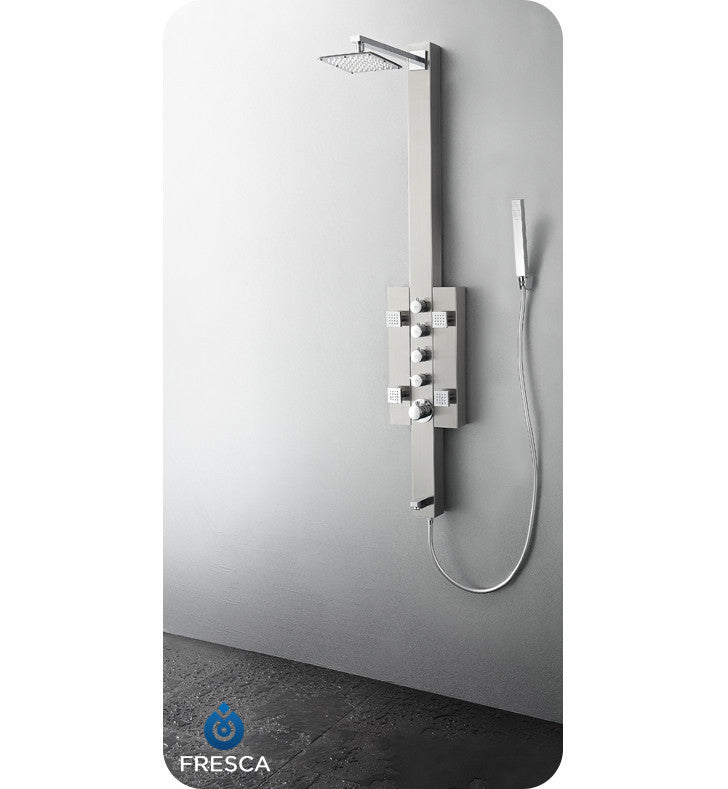Fresca Lecco Stainless Steel Thermostatic Shower Massage Panel in Brushed Silver FSP8002BS