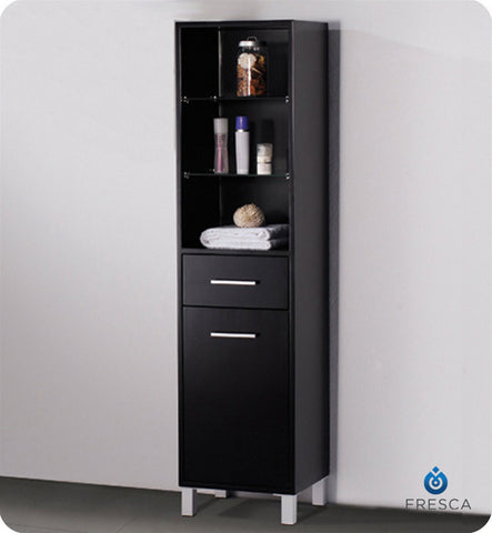 Fresca Espresso Bathroom Linen Side Cabinet with 3 Open Shelves FST1004ES